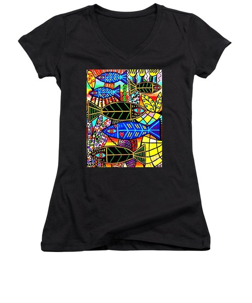 Citrine Coral Fish Women's V-Neck (Athletic Fit)