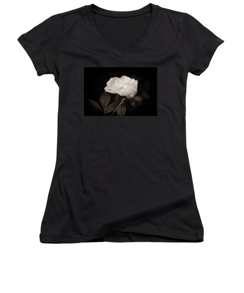 Women's V-Neck T-Shirt (Junior Cut) featuring the photograph Classic Peony by Sara Frank