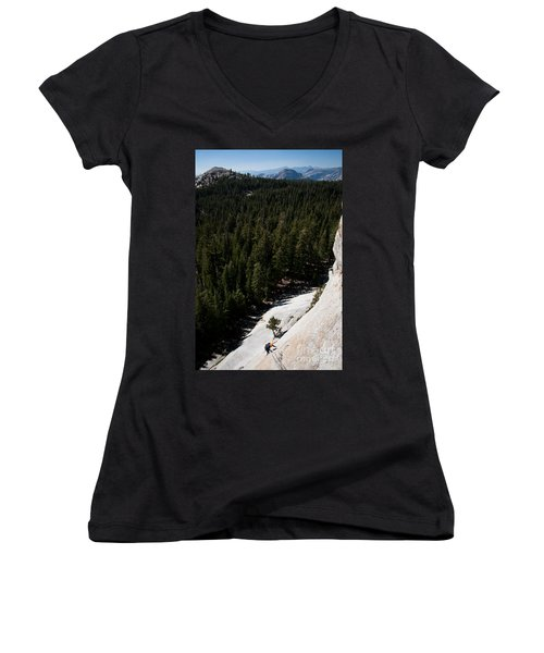 Climber In Yosemite Women's V-Neck (Athletic Fit)