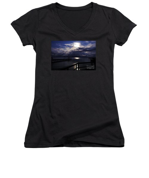 Women's V-Neck T-Shirt (Junior Cut) featuring the photograph Cold Night On The Water by Clayton Bruster