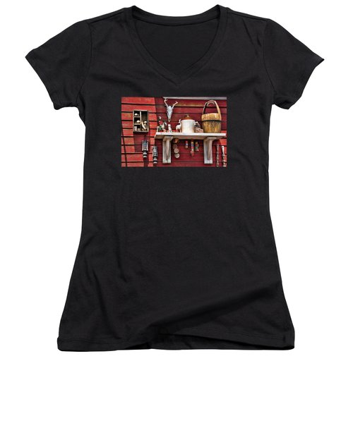 Women's V-Neck T-Shirt (Junior Cut) featuring the photograph Collection On The Barn by Jan Amiss Photography
