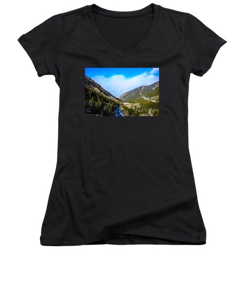 Women's V-Neck T-Shirt (Junior Cut) featuring the photograph Colorado Road by Shannon Harrington