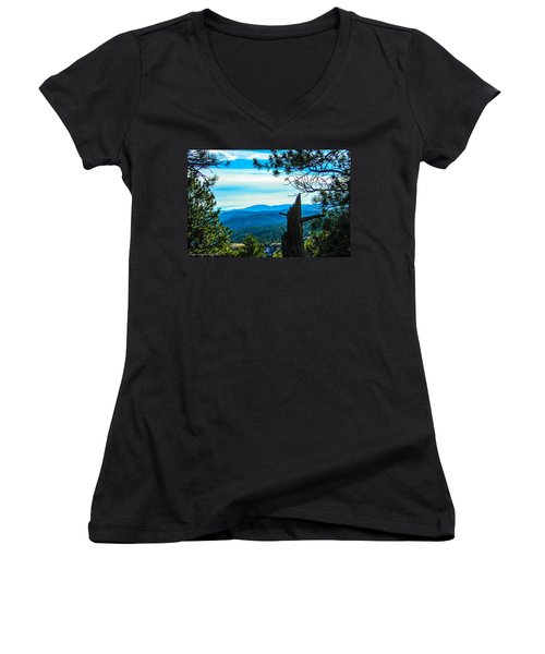 Women's V-Neck T-Shirt (Junior Cut) featuring the photograph Colorado View by Shannon Harrington