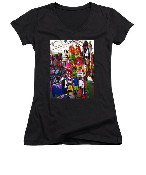 Women's V-Neck T-Shirt (Junior Cut) featuring the photograph Colorful Character Hats by Kym Backland