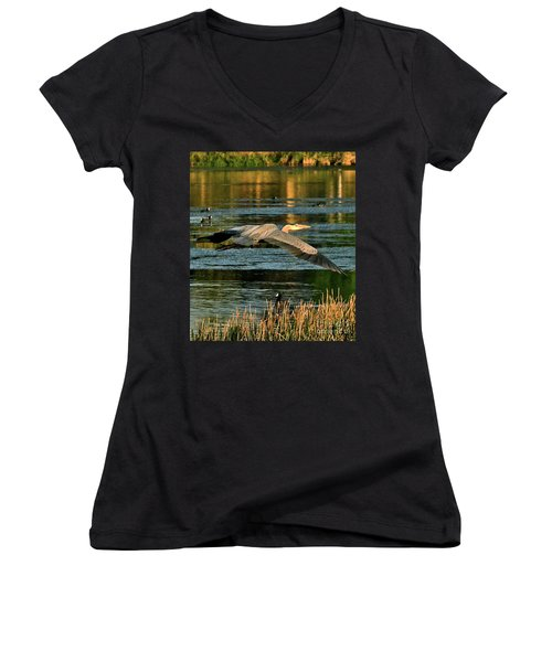 Colorful Evening Flight Women's V-Neck T-Shirt