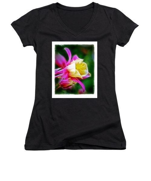 Women's V-Neck T-Shirt (Junior Cut) featuring the photograph Columbine by Judi Bagwell