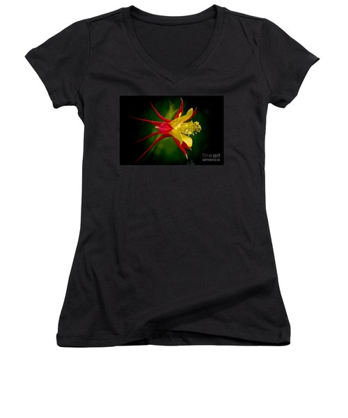 Women's V-Neck T-Shirt (Junior Cut) featuring the photograph Columbine by Larry Carr