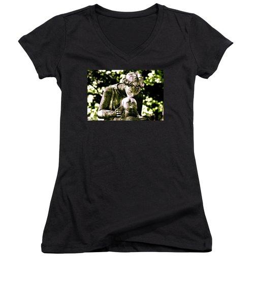 Comforted Women's V-Neck T-Shirt (Junior Cut) by Valerie Rosen