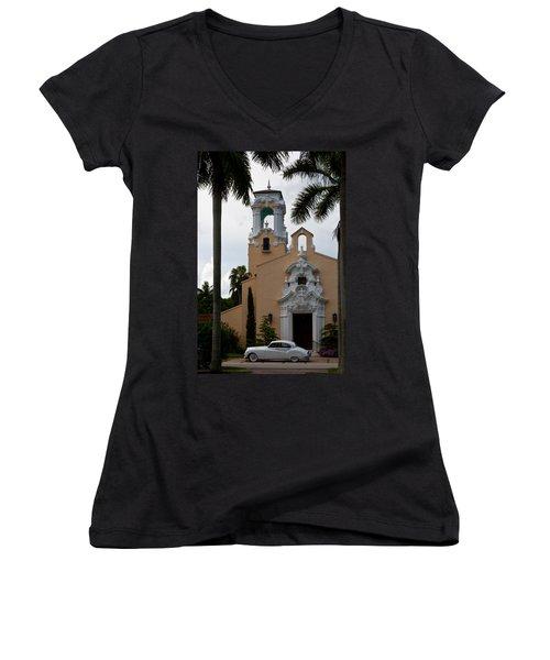 Women's V-Neck T-Shirt (Junior Cut) featuring the photograph Congregational Church Front Door by Ed Gleichman