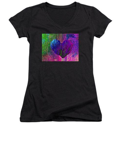 Women's V-Neck T-Shirt (Junior Cut) featuring the photograph Contours Of The Heart by David Pantuso