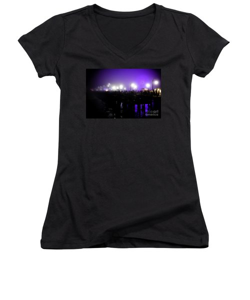 Women's V-Neck T-Shirt (Junior Cut) featuring the photograph Cool Night At Santa Monica Pier by Clayton Bruster