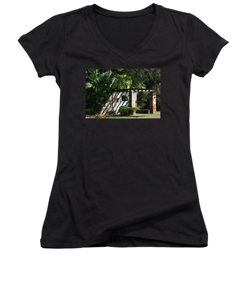 Women's V-Neck T-Shirt (Junior Cut) featuring the photograph Coral Gables Gate by Ed Gleichman
