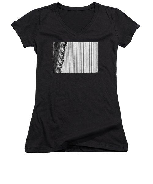 Women's V-Neck T-Shirt (Junior Cut) featuring the photograph Corinthian Columns by John Schneider