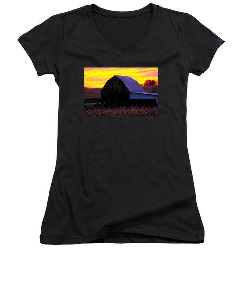 Women's V-Neck T-Shirt (Junior Cut) featuring the photograph Cornfield Barn Sky by Randall Branham