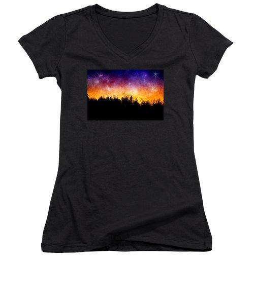 Cosmic Night Women's V-Neck T-Shirt (Junior Cut) by Ellen Heaverlo