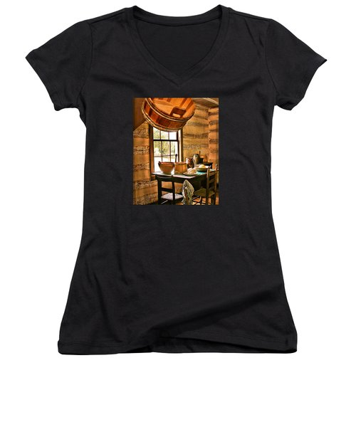 Women's V-Neck T-Shirt (Junior Cut) featuring the digital art Country Kitchen by Mary Almond