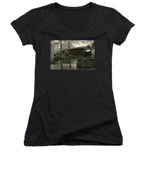 Women's V-Neck T-Shirt (Junior Cut) featuring the photograph Covered Bridge by Mary Almond