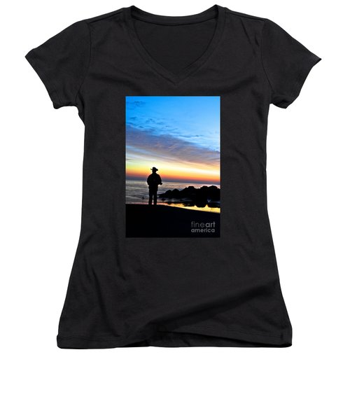 Cowboy Sunrise Women's V-Neck T-Shirt
