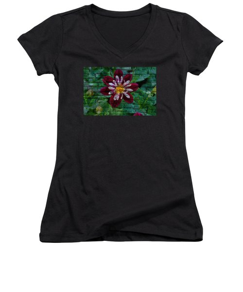Crazy Flower Over Brick Women's V-Neck T-Shirt (Junior Cut) by Eric Liller