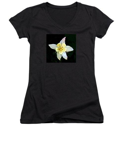 Women's V-Neck T-Shirt (Junior Cut) featuring the photograph Creamy Columbine by Nick Kloepping