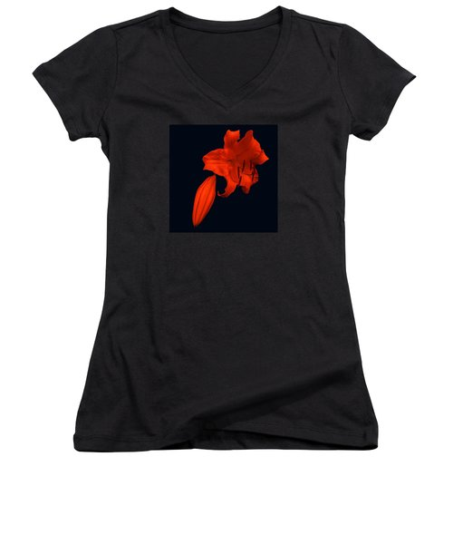 Women's V-Neck T-Shirt (Junior Cut) featuring the photograph Crimson Lily by Nick Kloepping
