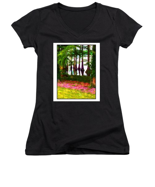 Cypress With Oxalis Women's V-Neck T-Shirt (Junior Cut) by Judi Bagwell