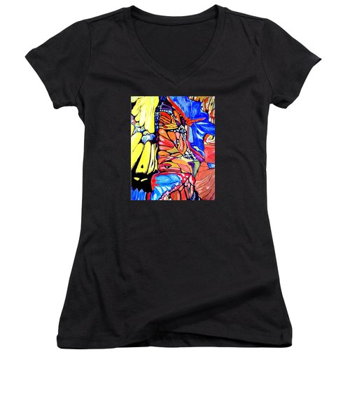 Butterflies Wings  Women's V-Neck T-Shirt (Junior Cut) by Sandra Lira