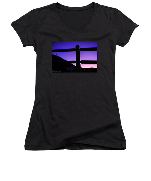 Women's V-Neck T-Shirt (Junior Cut) featuring the photograph Darkening Sky by Shannon Harrington
