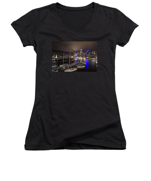 Darling Harbor Sydney Skyline 2 Women's V-Neck T-Shirt (Junior Cut) by Douglas Barnard
