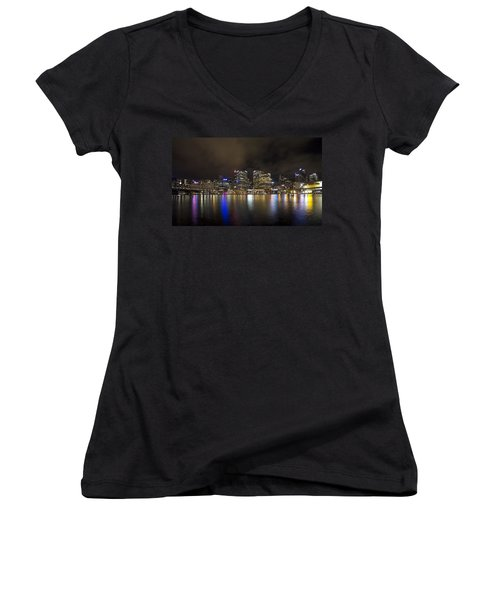 Darling Harbor Sydney Skyline Women's V-Neck T-Shirt (Junior Cut) by Douglas Barnard