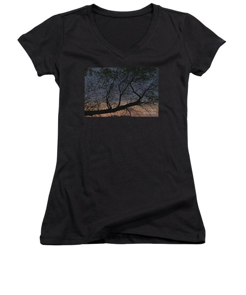 Women's V-Neck T-Shirt (Junior Cut) featuring the photograph Dawn by William Norton
