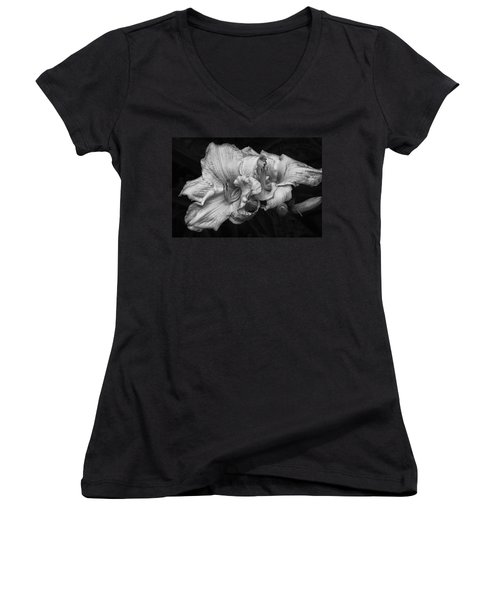 Women's V-Neck T-Shirt (Junior Cut) featuring the photograph Day Lilies by Eunice Gibb