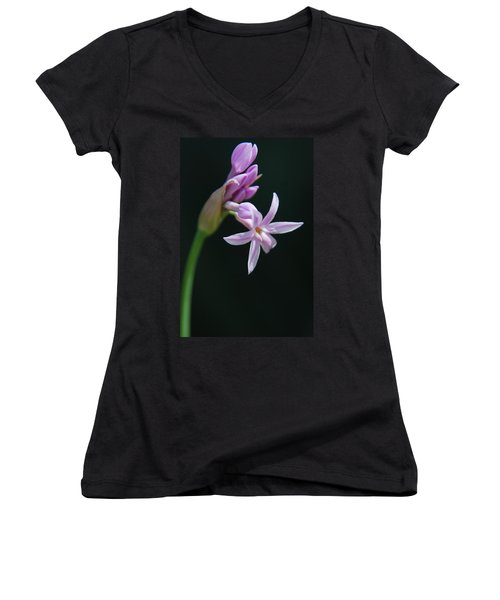 Women's V-Neck T-Shirt (Junior Cut) featuring the photograph Flowering Bud by Tam Ryan