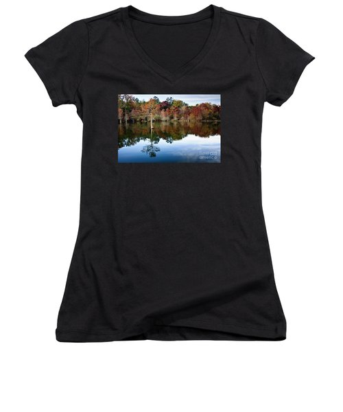 Women's V-Neck T-Shirt (Junior Cut) featuring the photograph Beaver's Bend Defiant Cypress by Tamyra Ayles