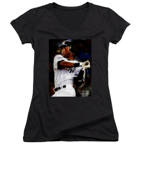 Derek Jeter New York Yankee Women's V-Neck T-Shirt (Junior Cut) by Paul Ward