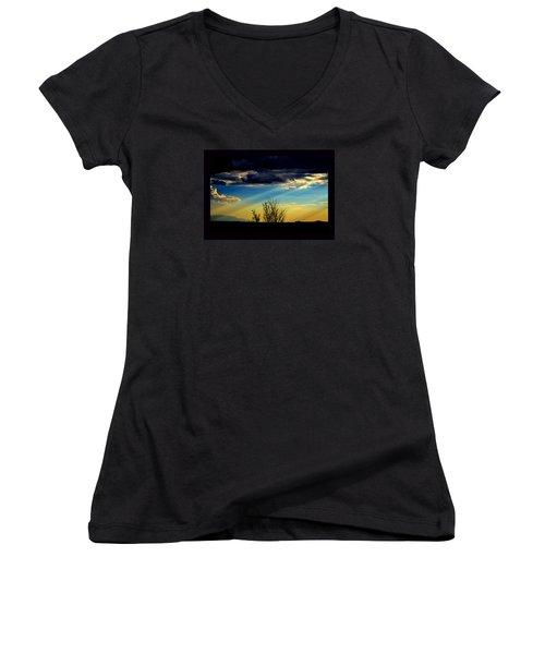 Desert Dusk Women's V-Neck T-Shirt (Junior Cut) by Susanne Still
