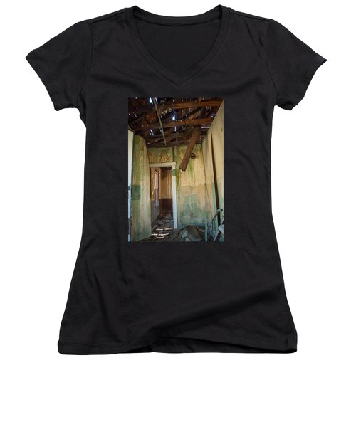 Women's V-Neck T-Shirt (Junior Cut) featuring the photograph Deterioration by Fran Riley