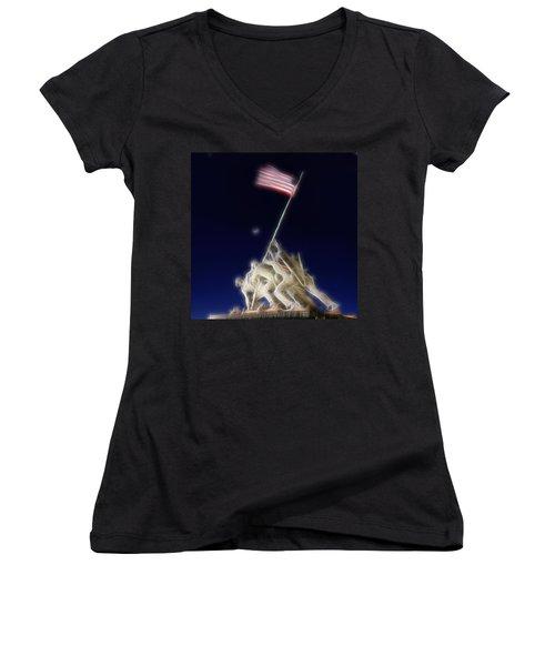 Digital Lightening - Iwo Jima Memorial Women's V-Neck
