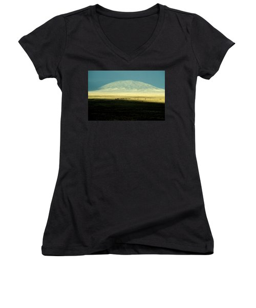 Women's V-Neck T-Shirt (Junior Cut) featuring the photograph Dome Mountain by Brent L Ander