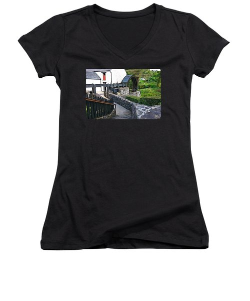 Women's V-Neck T-Shirt (Junior Cut) featuring the photograph Down To The Mill by Charlie and Norma Brock