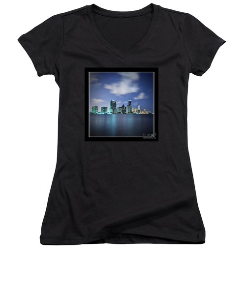 Women's V-Neck T-Shirt (Junior Cut) featuring the photograph Downtown Miami At Night by Carsten Reisinger
