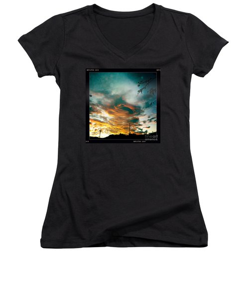 Women's V-Neck T-Shirt (Junior Cut) featuring the photograph Drama In The Sky by Nina Prommer