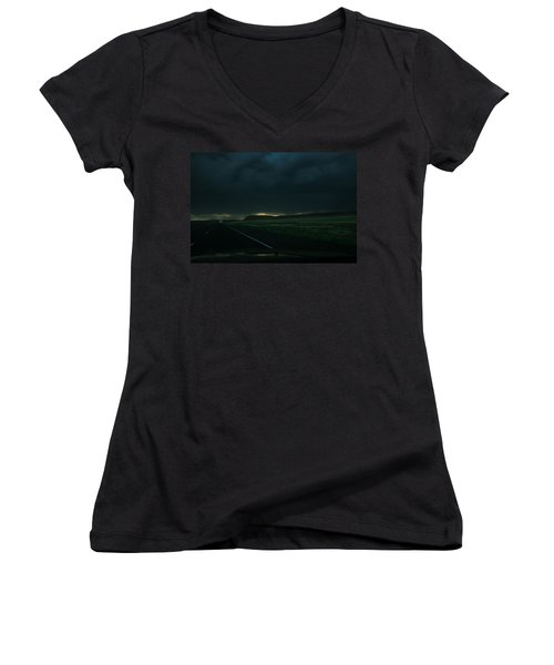 Women's V-Neck T-Shirt (Junior Cut) featuring the photograph Driving Rain Number One by Lon Casler Bixby