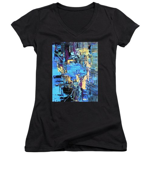 Drowning In The Blues Women's V-Neck T-Shirt