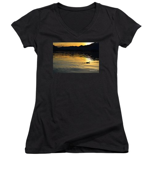 Duck Swimming Women's V-Neck