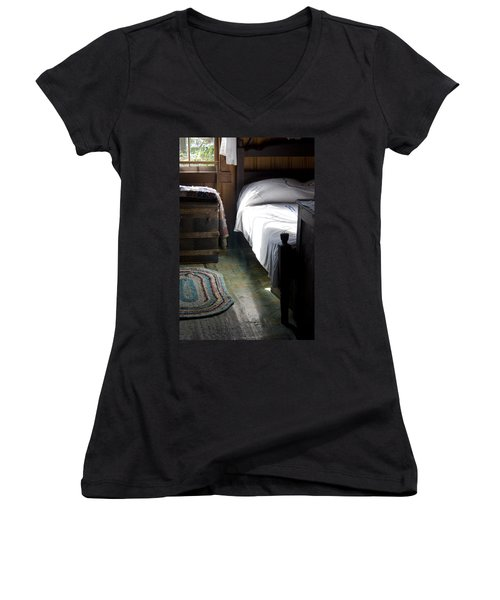Women's V-Neck T-Shirt (Junior Cut) featuring the photograph Dudley Farmhouse Interior No. 1 by Lynn Palmer