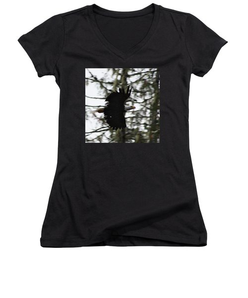 Women's V-Neck T-Shirt (Junior Cut) featuring the photograph Eagle Fly By by Cathie Douglas