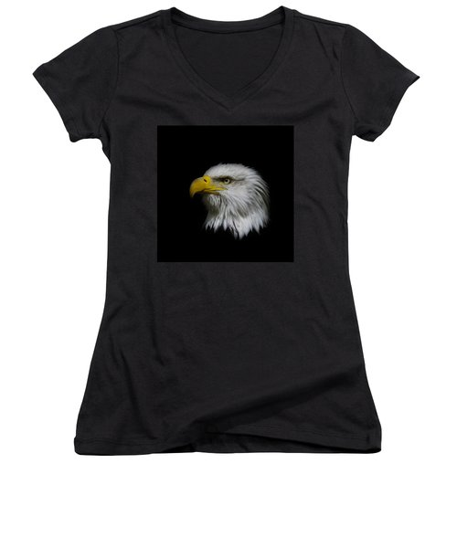 Women's V-Neck T-Shirt (Junior Cut) featuring the photograph Eagle Head by Steve McKinzie
