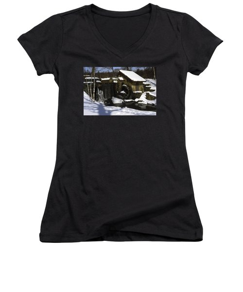 Eastern University Waterwheel Historic Place Women's V-Neck T-Shirt (Junior Cut) by Sally Weigand