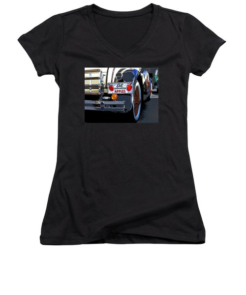 Eat Washington Apples2 Women's V-Neck T-Shirt (Junior Cut) by Anne Mott